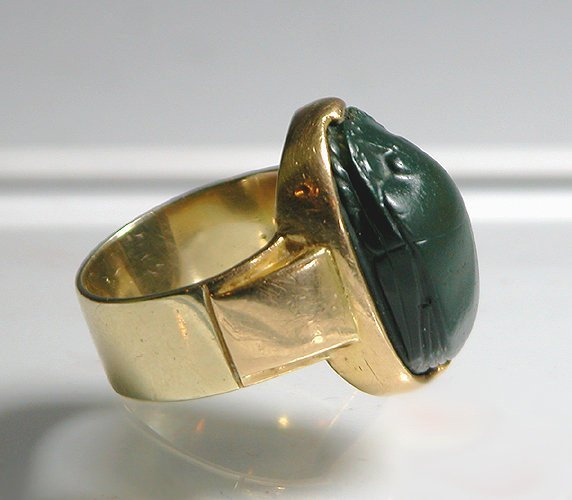 54: Egyptian Jasper Scarab Gold Ring