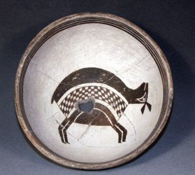 Mimbres Black On White Pictorial Bowl