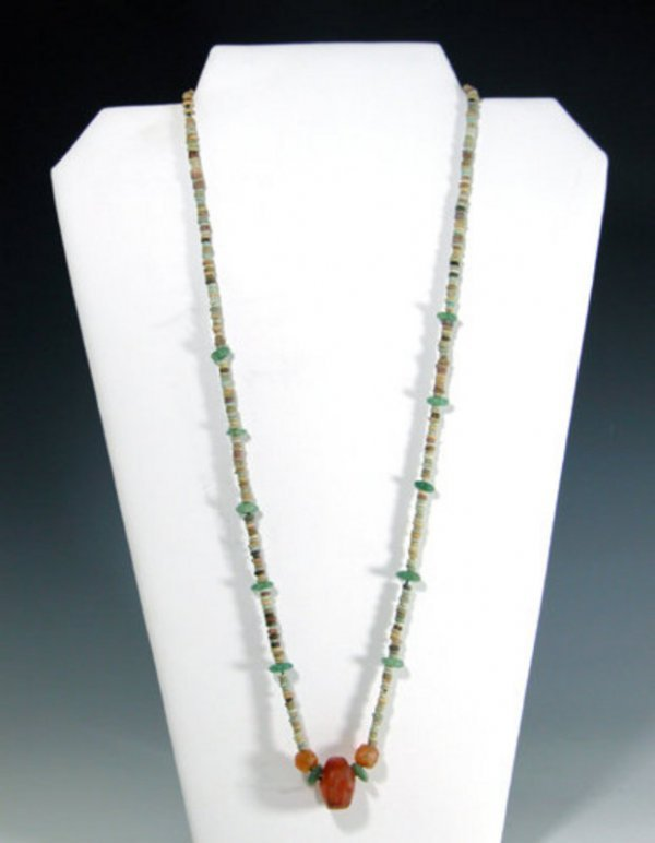 105: Egyptian Faience and Carnelian Necklace