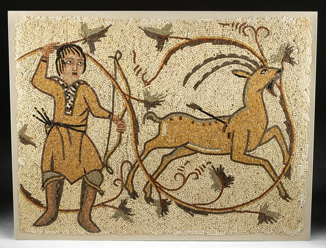 Fine Roman Stone Mosaic Hunting Scene