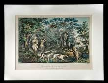 """Currier & Ives Lithograph - """"Woodcock Shooting"""" 1852"""