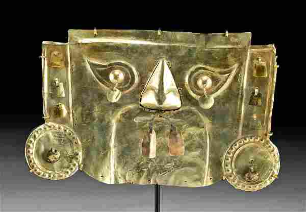 Superb 10th C. Sican Gold Mask for a Lord