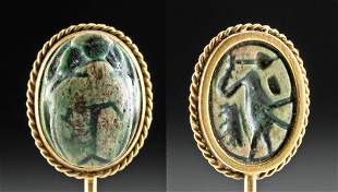 Egyptian 18th Dynasty Scarab set in Gold Hat Pin