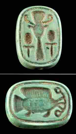 Egyptian Glazed Faience Plaque Amulet w/ Fish