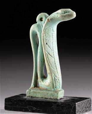 Egyptian Glazed Faience Snake Amulet