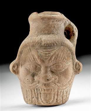 Romano Egyptian Portrait Pottery Jar of Bes