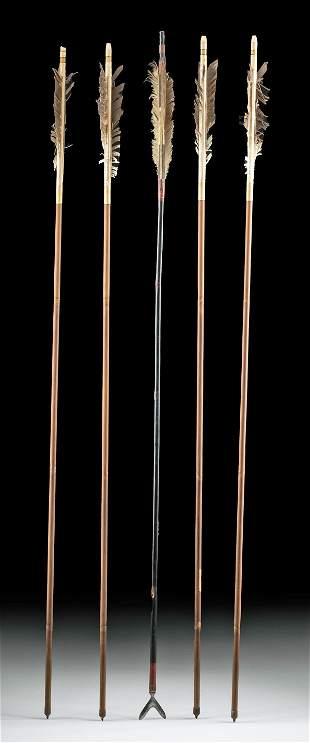 Japanese Edo / Meiji Bamboo Arrows Iron Tips (5)
