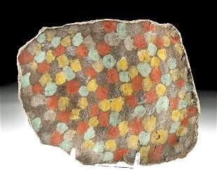 Inca Chucu Polychrome Plaque w/ Checkered Motif