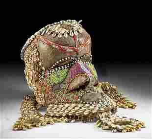 20th C. Kuba Beaded Bwoom Mask w/ Copper, Pelt, Shells