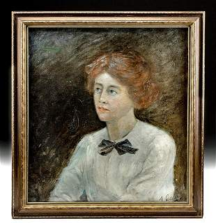 Framed Victorian Era Painting - Portrait of a Woman
