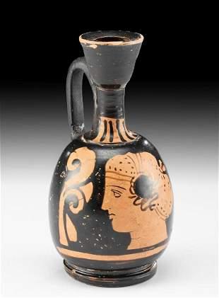 Greek Apulian Red Figure Lekythos w/ Profile of Woman