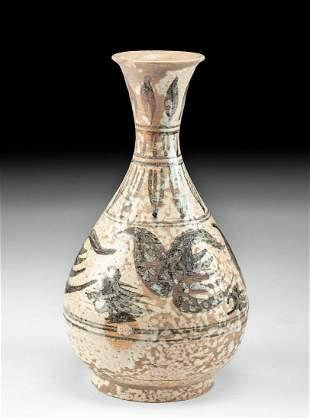 15th C. Vietnamese Glazed Pottery Bottle w/ Avian Motif