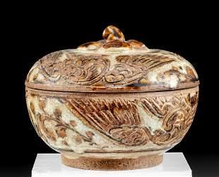 15th C. Thai Sawankhalok Lidded Pottery Jar