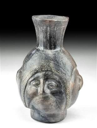 Inca Blackware Portrait Jar