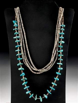 2 Vintage Santo Domingo Pueblo Heishi Bead Necklaces