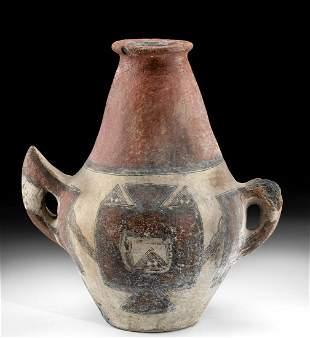 19th C. Algerian Berber Kabyle Polychrome Water Amphora