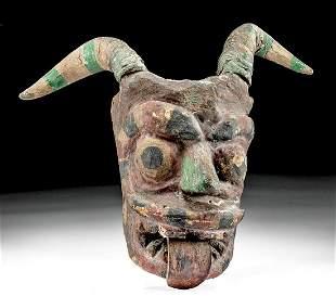 Vintage Guatemalan Painted Wood Devil Mask w/ Ram Horns