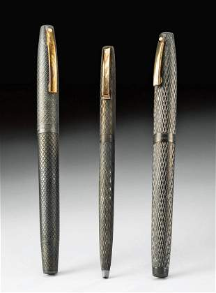 Three Vintage American Silver & Gold Sheaffer Pens
