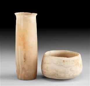 Fine Pair of Egyptian Banded Alabaster Vessels