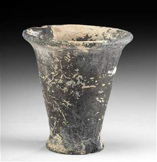 Egyptian New Kingdom Pottery & Painted Gesso Votive Cup