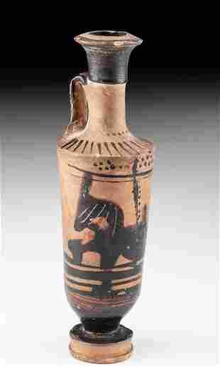 Greek Attic Black Figure Lekythos w/ Zoomorph