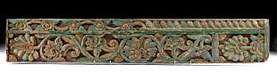 18th C. Indian Polychrome Wood Panel w/ Botanical Motif