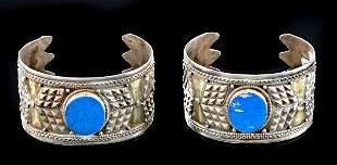 19th C. Turkoman Gilt Silver & Lapis Bracelets (pr)