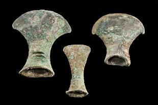 Three Ancient Vietnamese Dong Son Bronze Axe Heads