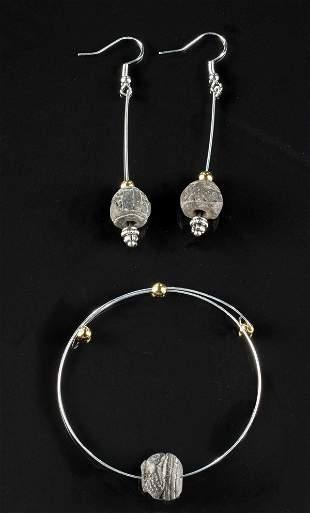 Ecuadorean Spindle Whorl Bead Bracelet & Earrings