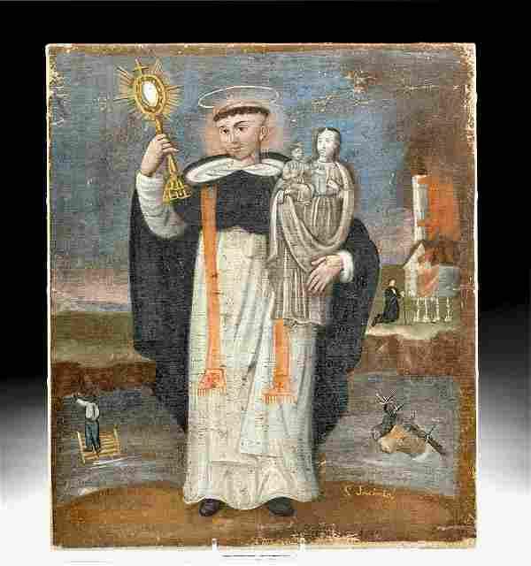 19th C. Spanish Colonial Painting of San Jacinto