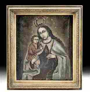 18th C. Spanish Colonial Painting - Virgen del Carmen