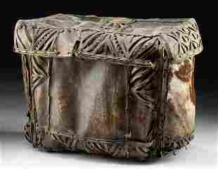 18th C. Spanish Colonial Animal Hide Petaca
