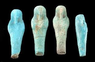 Four Petite Egyptian Glazed Faience Ushabti Figures