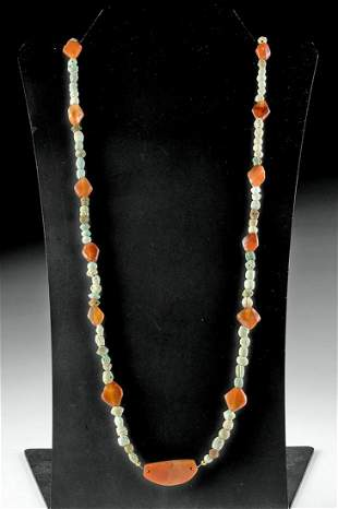 Sumerian Carnelian & Faience Bead Necklace