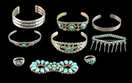 20th C. Navajo Silver, Brass, Turquoise Jewelry (9 Pcs)