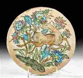 19th C. Persian Qajar Polychrome Tile w/ Deer