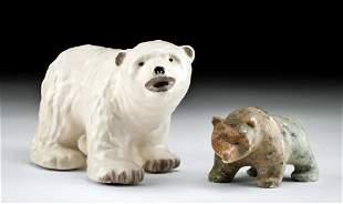 C. Alan Johnson Ceramic Bear + Hanaka Stone Bear
