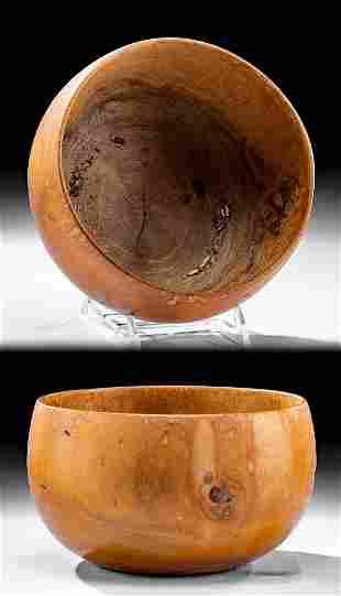 Signed Early 20th C. Hawaiian Hau Wood Bowl