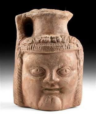Rare Romano-Egyptian Redware Portrait Jug