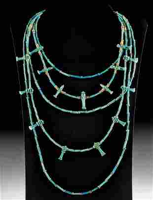 Egyptian Faience Bead Necklace w/ 15 Amulets