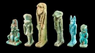 6 Egyptian Glazed Faience Pendants of Deities