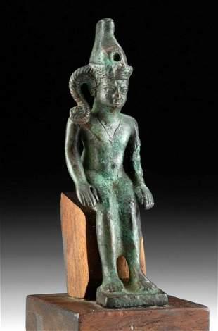 Egyptian Leaded Bronze Seated Horus / Harpokrates