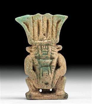 Egyptian Glazed Faience Double Sided Bes Pendant