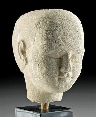 Egyptian Sandstone Male Head Sculptor's Model