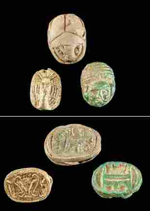 3 Egyptian Stone & Faience Amulets, 1 w/ Human Face