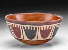 Nazca Polychrome Bowl w/ Heads, ex Museum