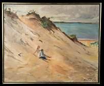 Framed William Draper Painting - Beach Scene, 1960