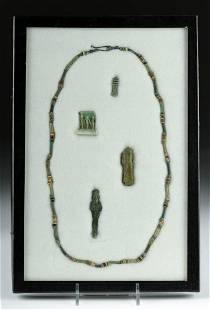 4 Egyptian Amulets + Faience Bead Necklace