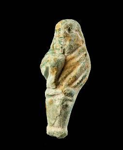 Phoenician Glazed Faience Figural Pendant