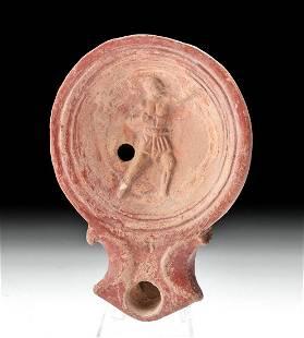 Roman Terracotta Oil Lamp w/ Male Figure Relief Tondo